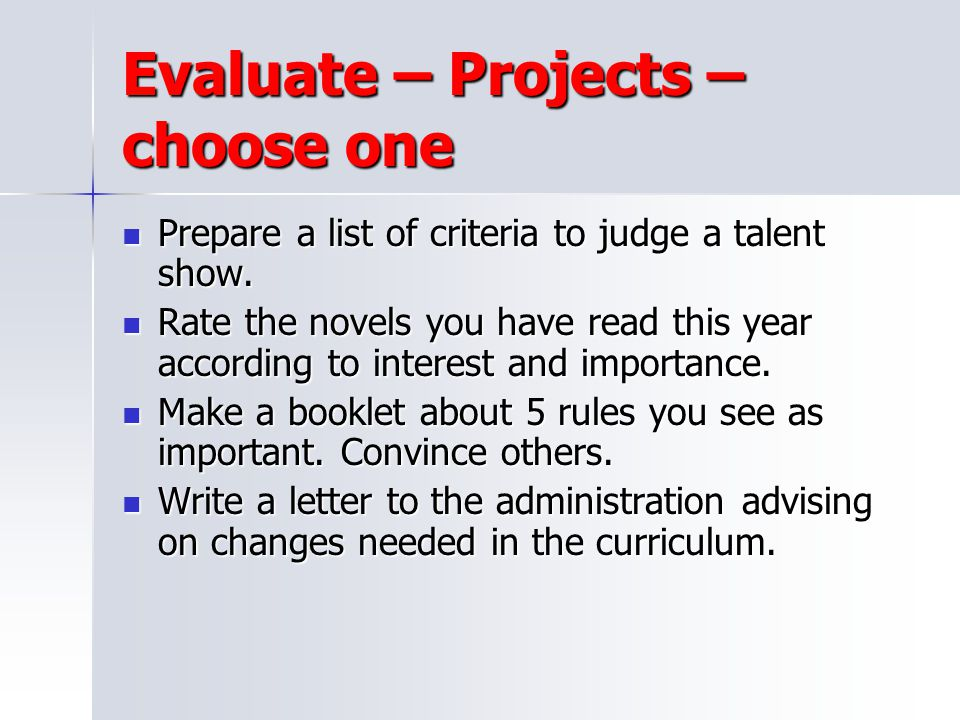 Evaluate – Projects – choose one