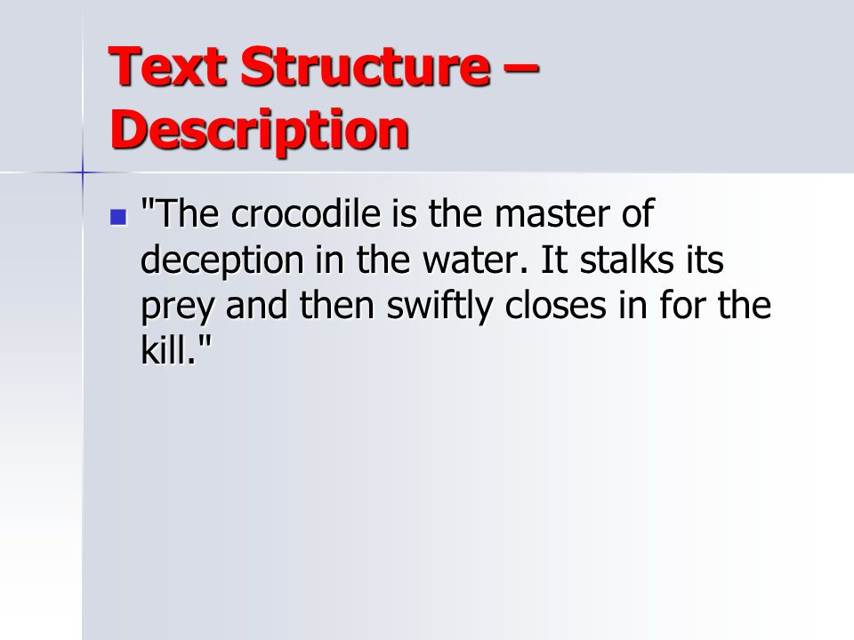 Text Structure – Description