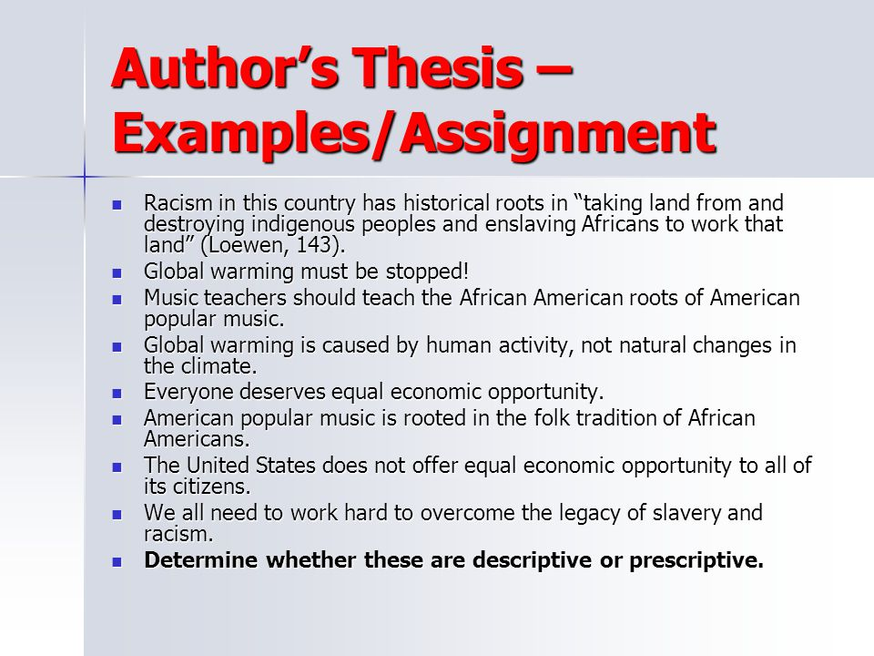 Author's Thesis – Examples/Assignment