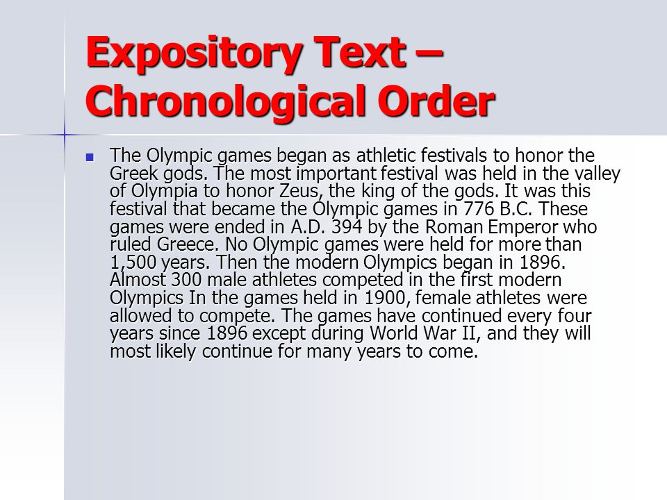 Expository Text – Chronological Order