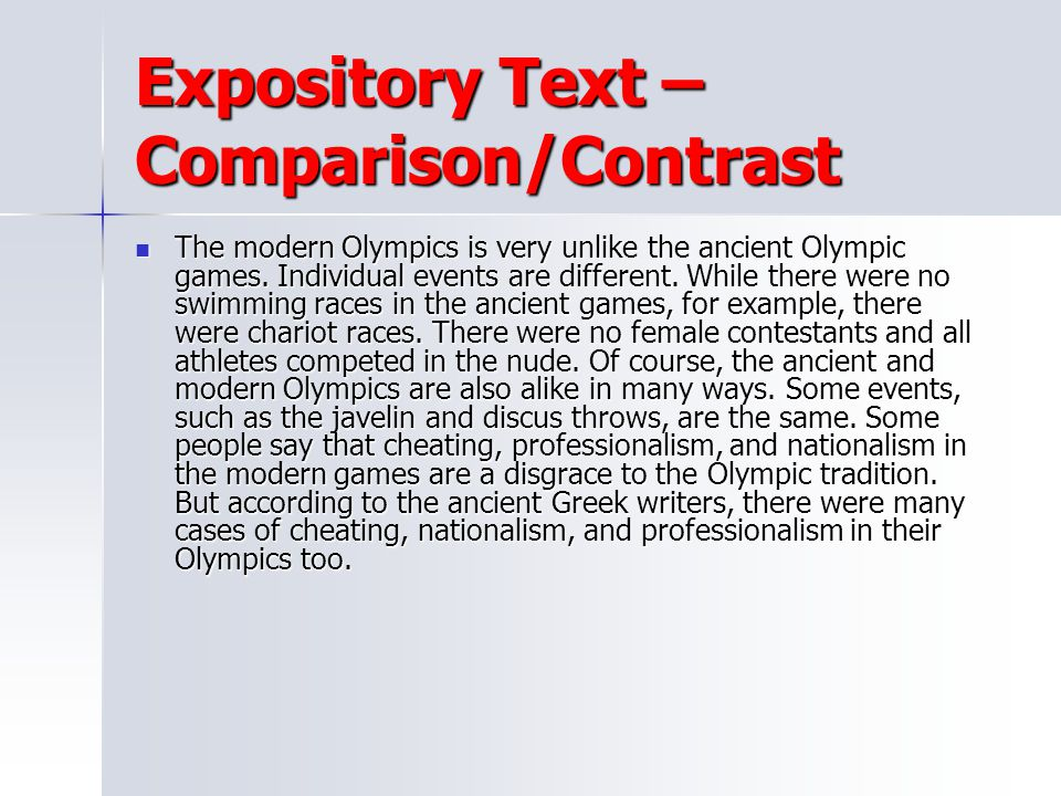 Expository Text – Comparison/Contrast
