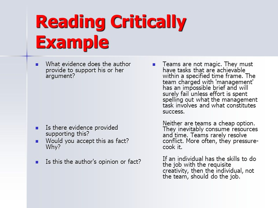 Reading Critically Example