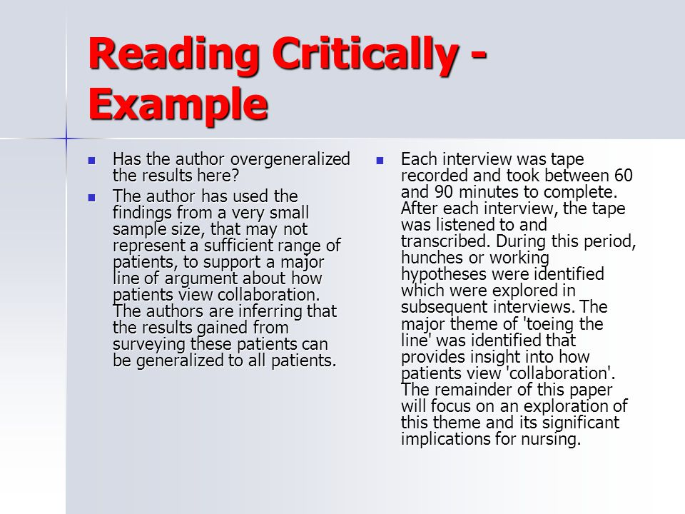 Reading Critically - Example