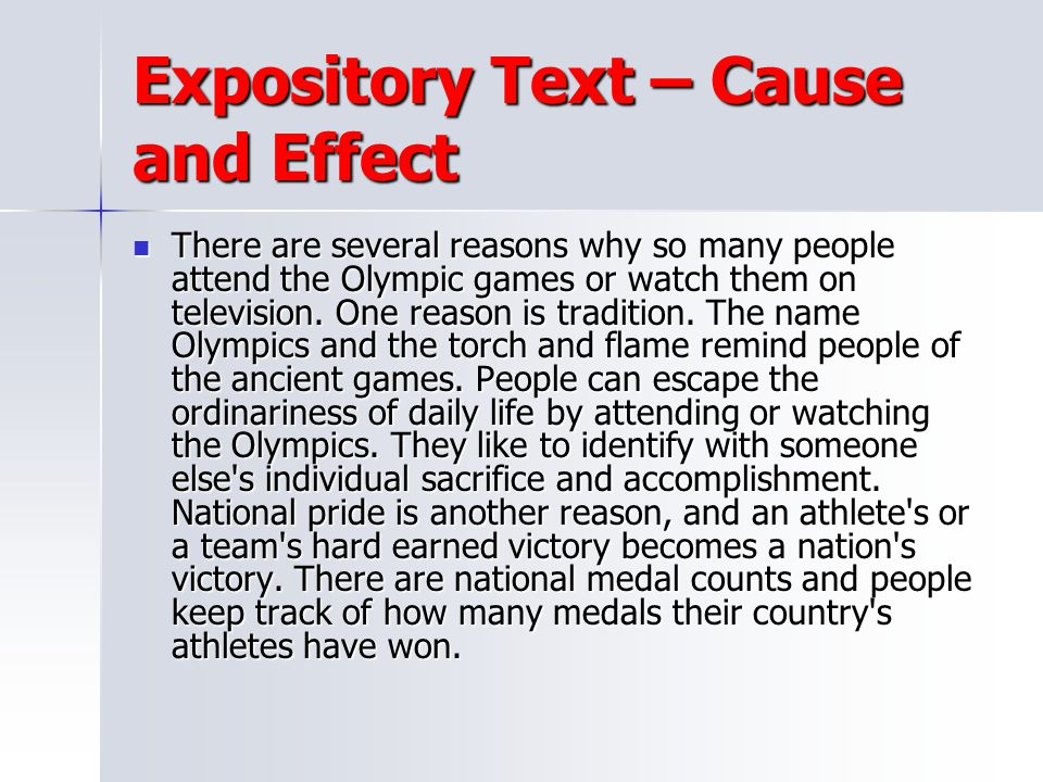 Expository Text – Cause and Effect