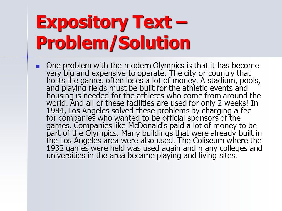 Expository Text – Problem/Solution