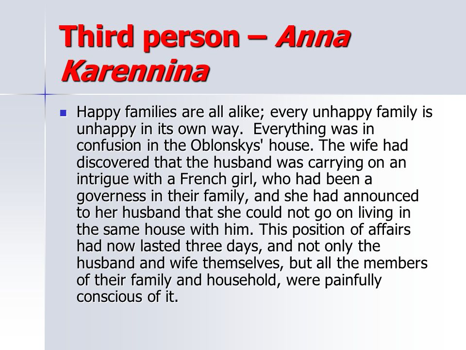 Third person – Anna Karennina