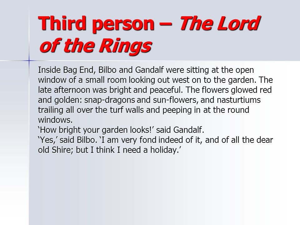 Third person – The Lord of the Rings