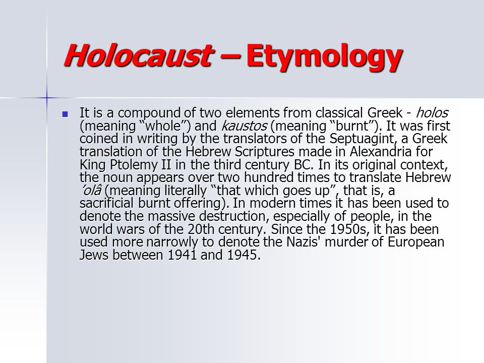 Holocaust – Etymology