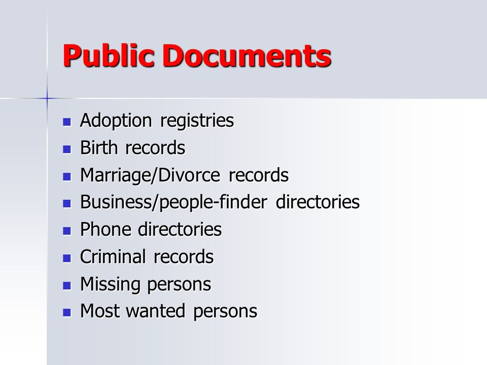 Public Documents Adoption registries Birth records