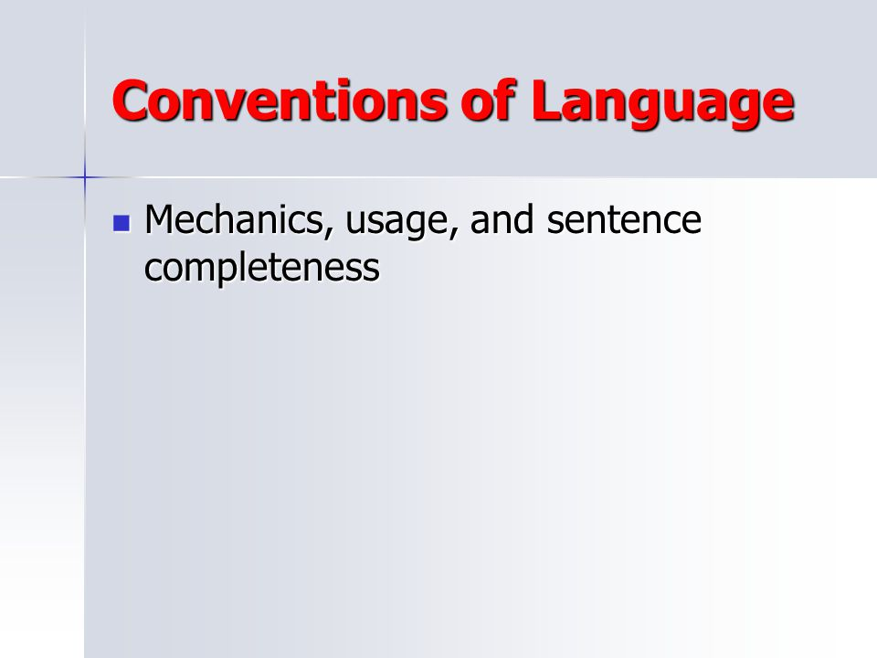 Conventions of Language