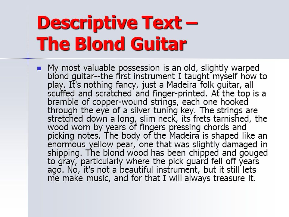 Descriptive Text – The Blond Guitar