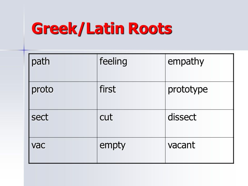 Greek/Latin Roots path feeling empathy proto first prototype sect cut