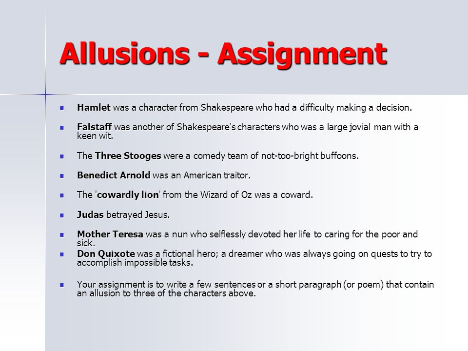 Allusions - Assignment