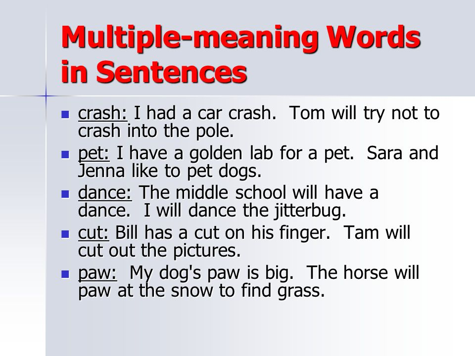 Multiple-meaning Words in Sentences