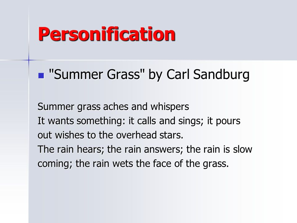 Personification Summer Grass by Carl Sandburg