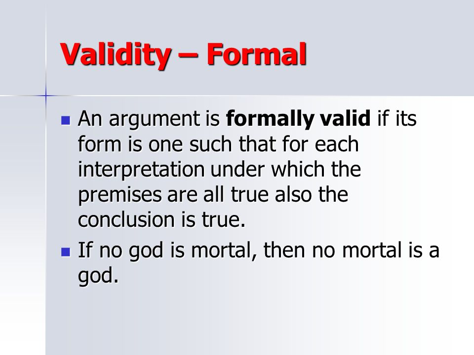 Validity – Formal