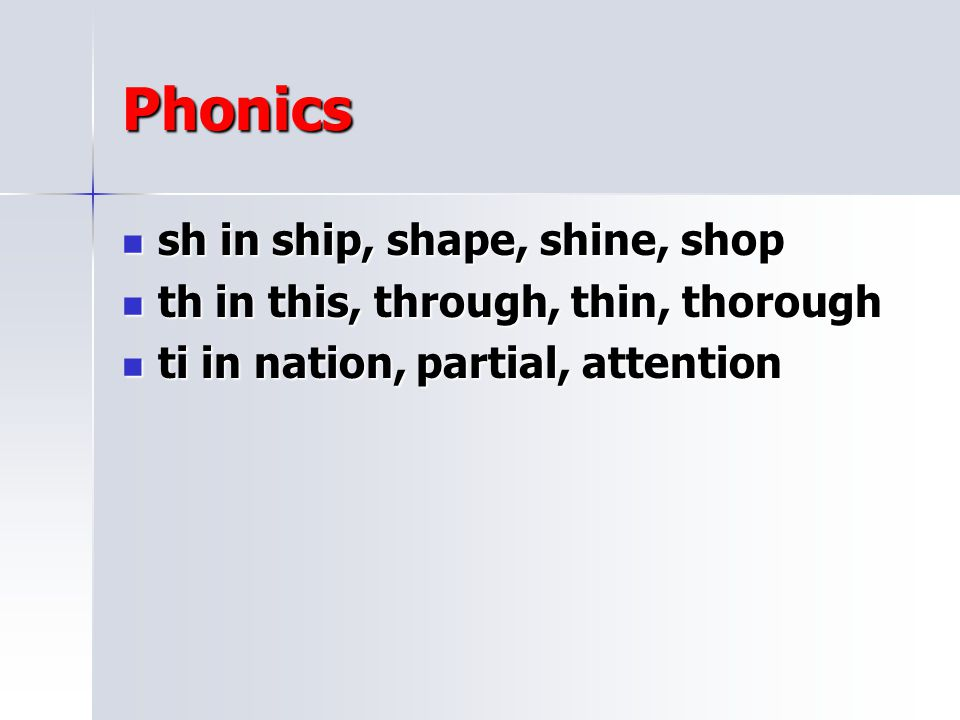 Phonics sh in ship, shape, shine, shop