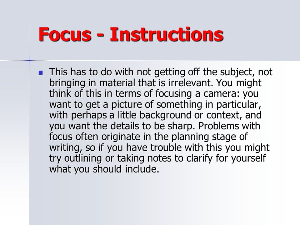 Focus - Instructions