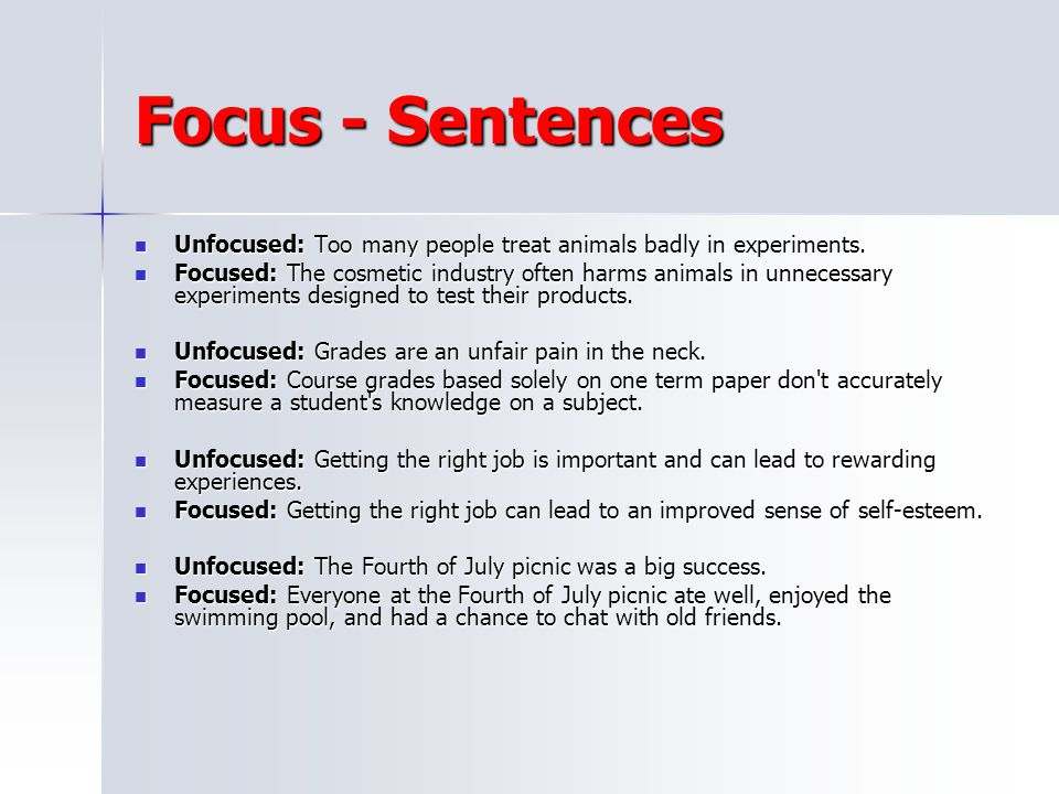 Focus - Sentences Unfocused: Too many people treat animals badly in experiments.