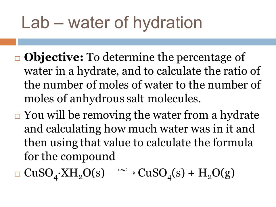 determination of water of hydration essay Determine the amount of water in the sample and calculate its water of hydration in the second part of this experiment you will conduct a chemical reaction with.