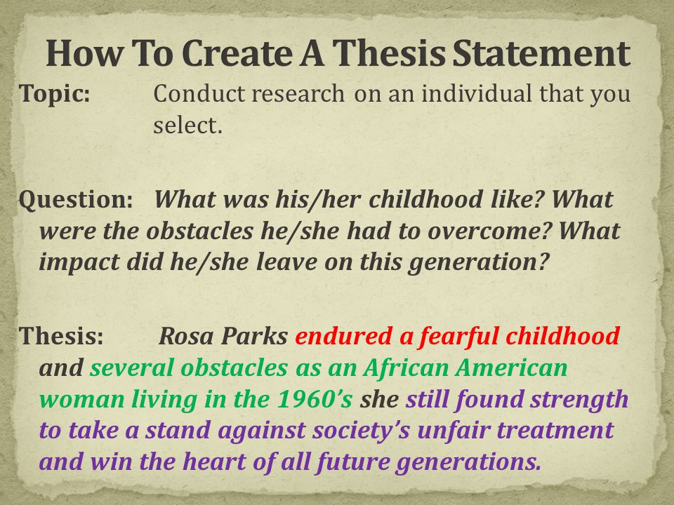 Good thesis statements about rosa parks pay for world affairs thesis statement