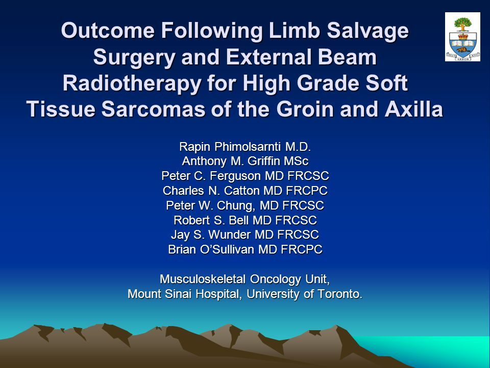 Outcome Following Limb Salvage Surgery and External Beam Radiotherapy for High Grade Soft Tissue Sarcomas of the Groin and Axilla