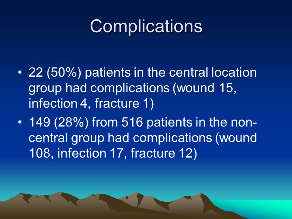 Complications 22 (50%) patients in the central location group had complications (wound 15, infection 4, fracture 1)