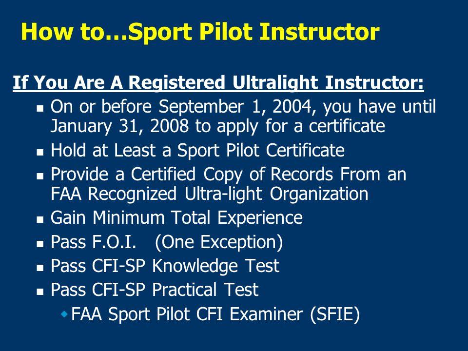 Sport Pilot-Pilot Certification Light-Sport Aviation Branch - ppt ...