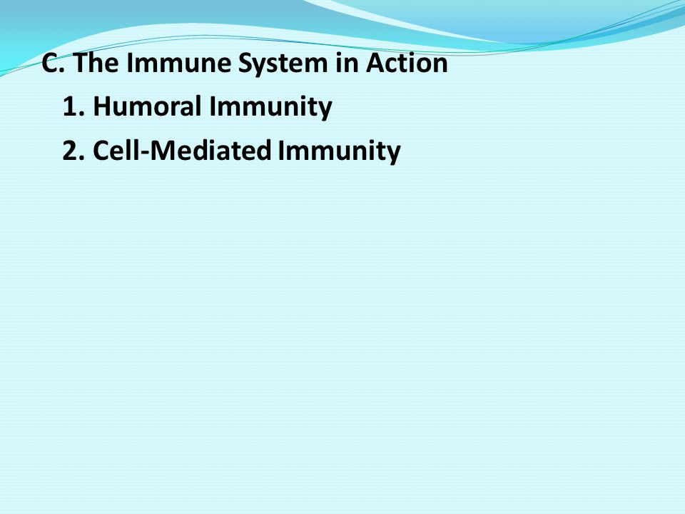 C. The Immune System in Action 1. Humoral Immunity 2