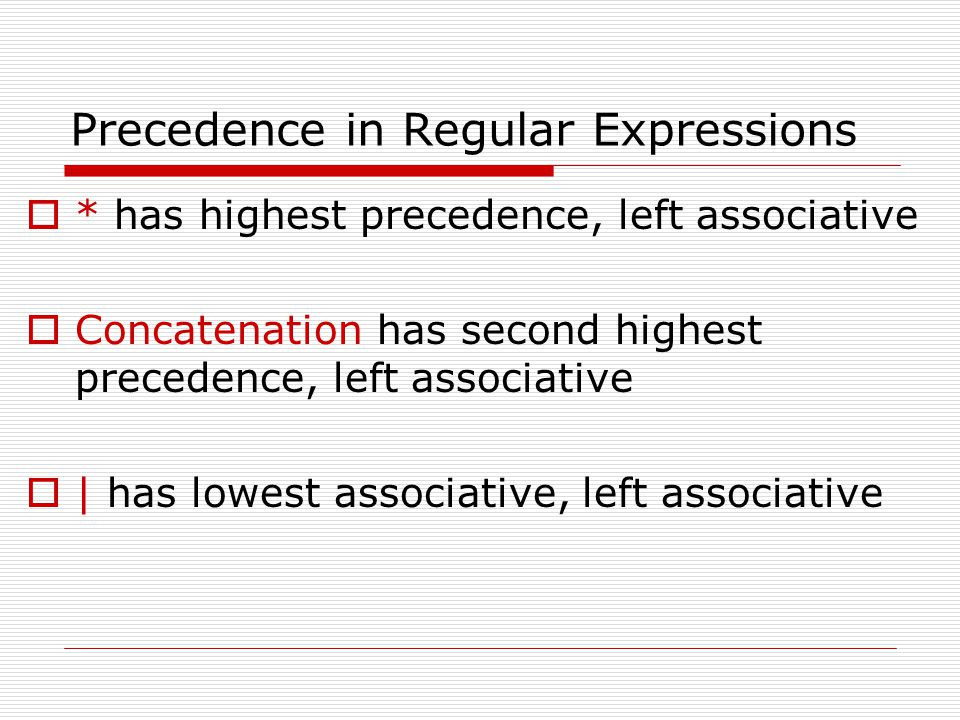Precedence in Regular Expressions