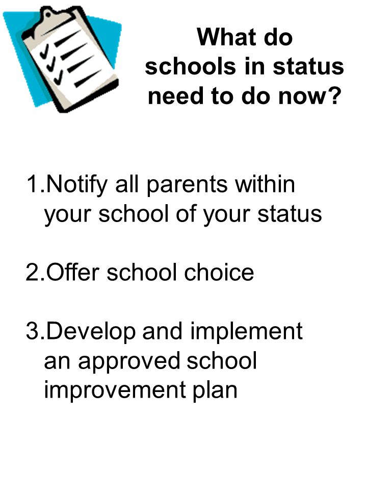 What do schools in status need to do now