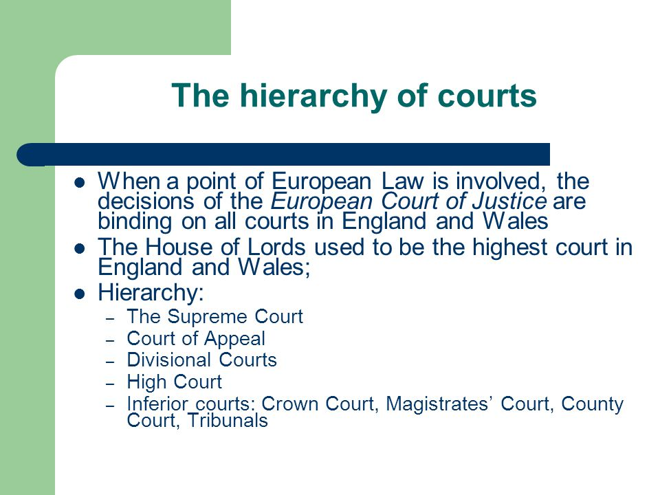 The hierarchy of courts