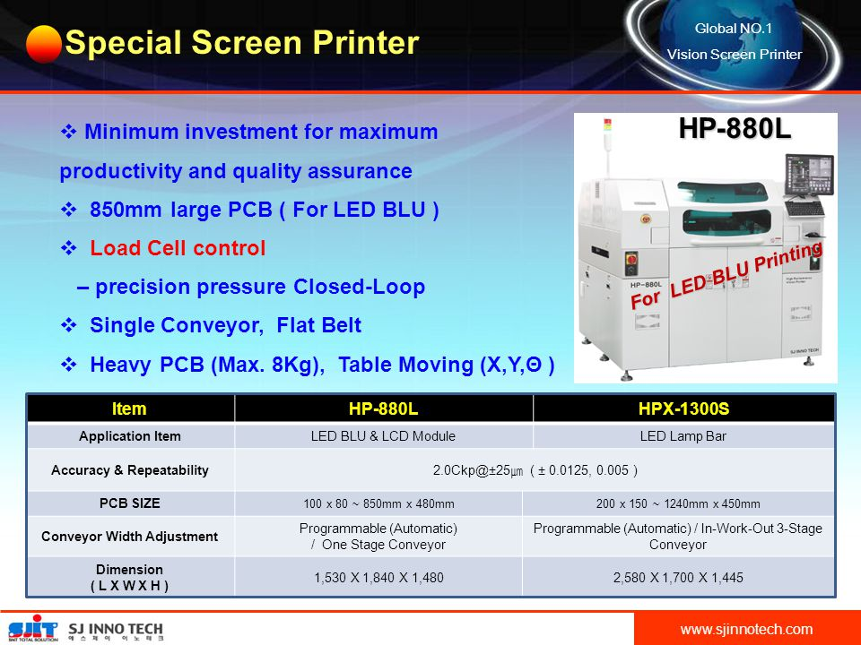 VISION SCREEN PRINTER SJ INNO TECH HIGH PERFORMANCE CONTENTS