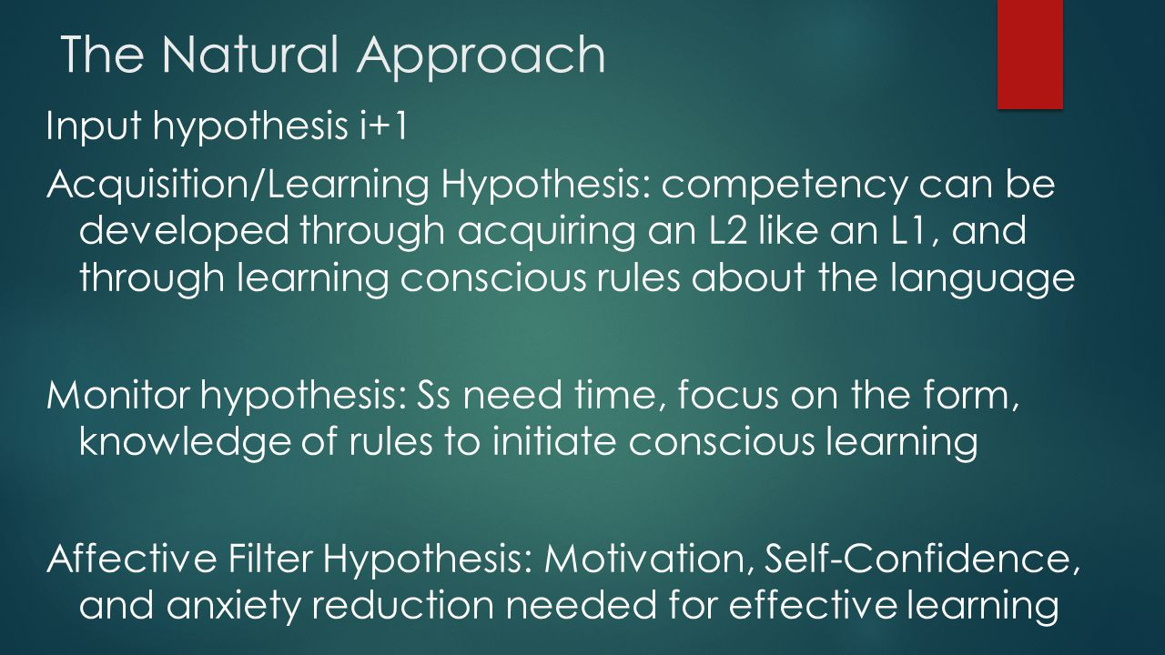 The Natural Approach Input hypothesis i+1