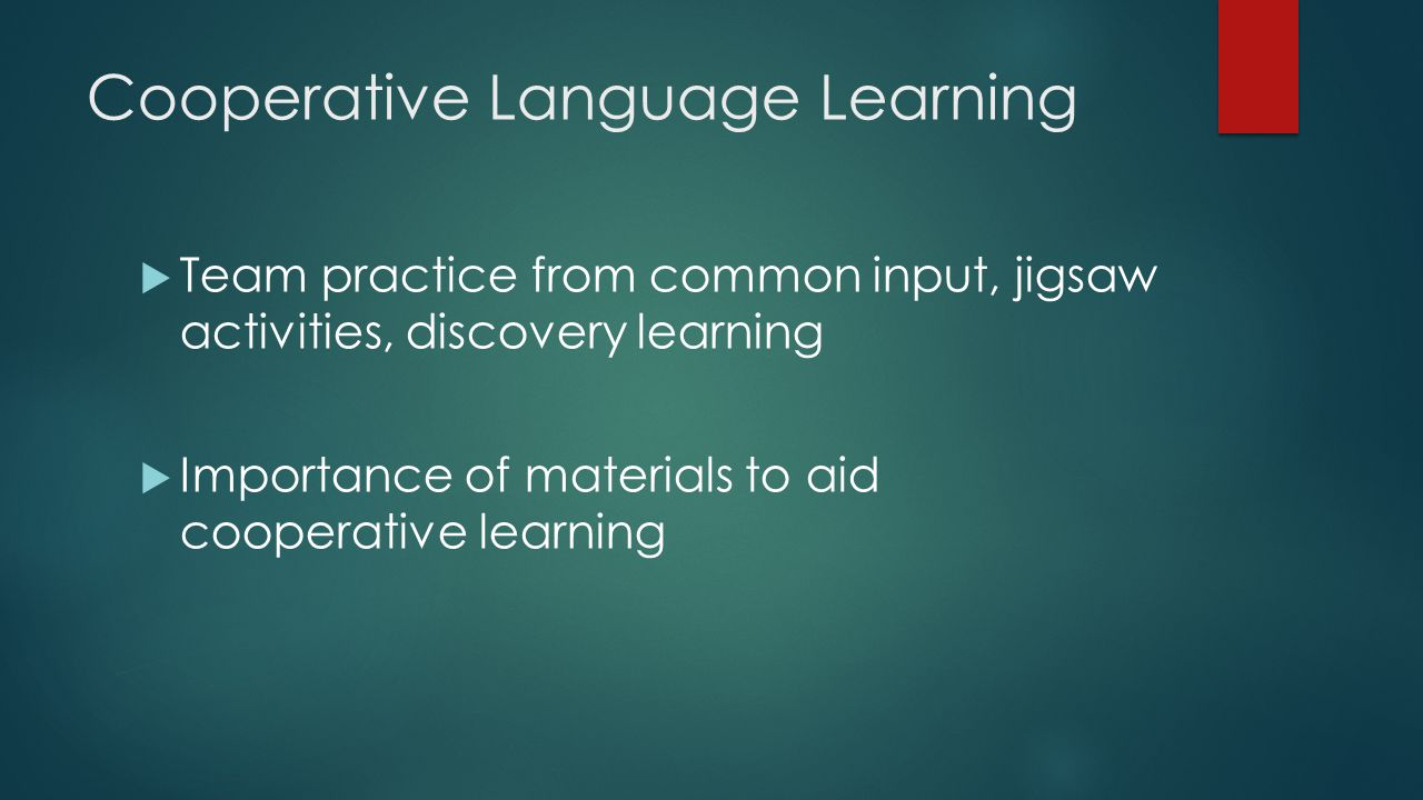 Cooperative Language Learning