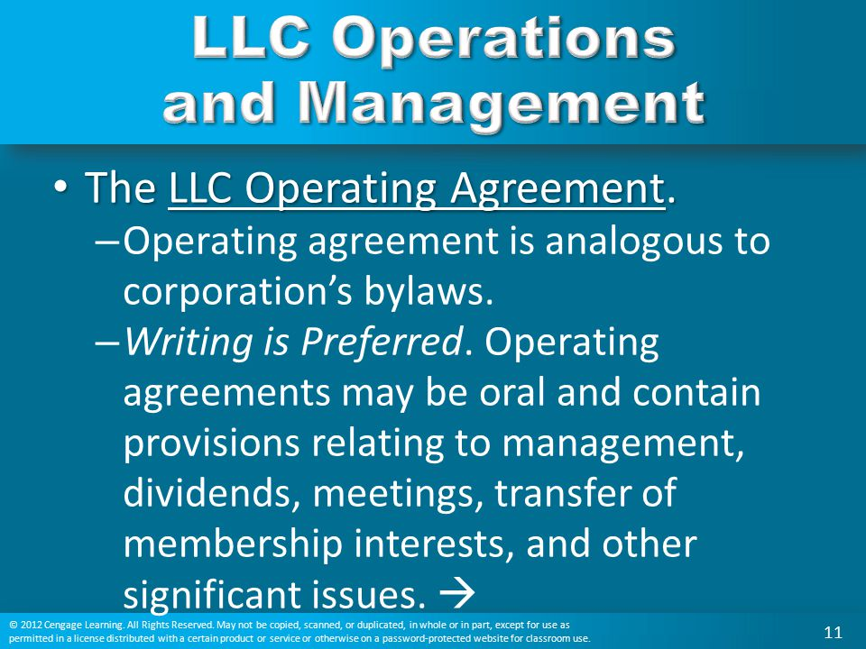 LLC Operations and Management