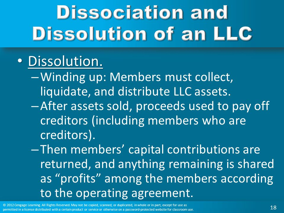 Dissociation and Dissolution of an LLC