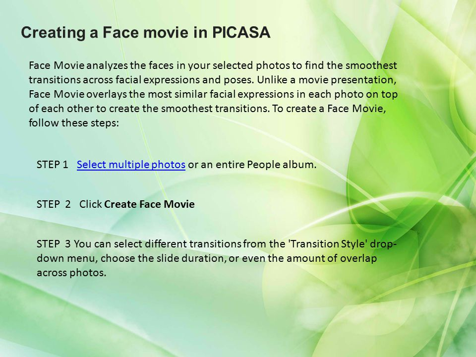 Creating a Face movie in PICASA