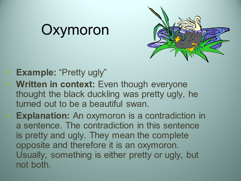 Oxymoron Ex le A Pretty Ugly on the ugly duckling book online