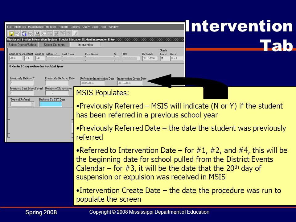 Intervention Tab MSIS Populates: