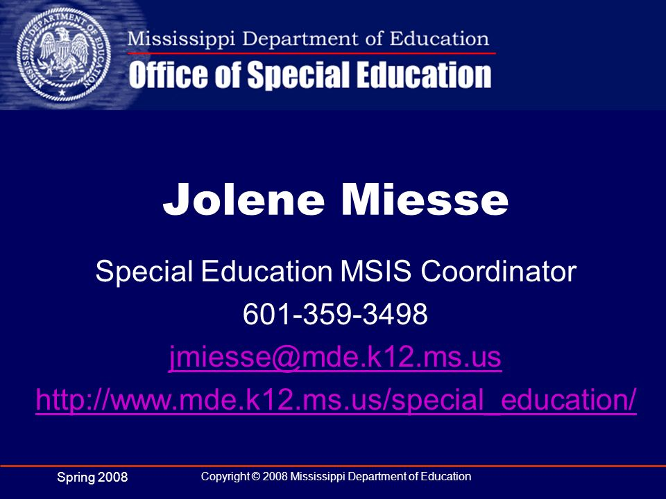 Special Education MSIS Coordinator