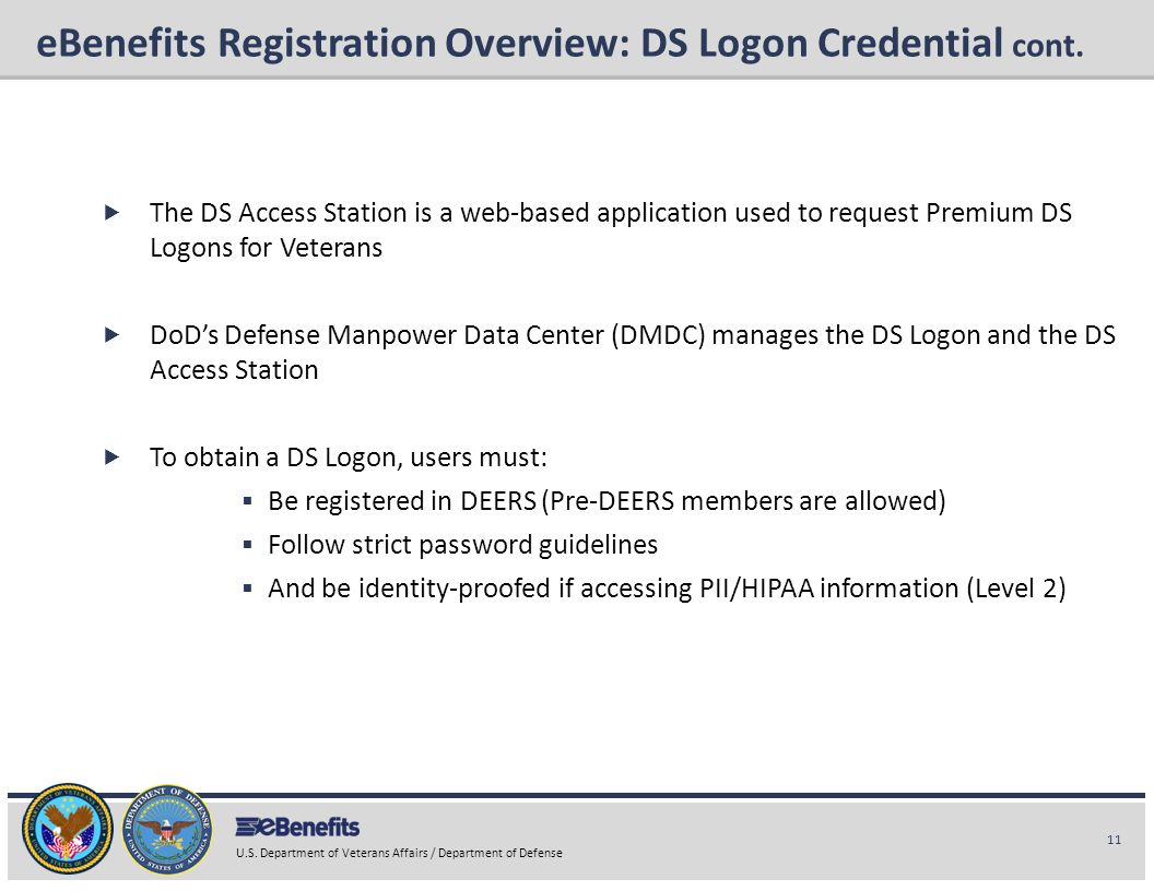 eBenefits Registration Overview: DS Logon Credential cont.