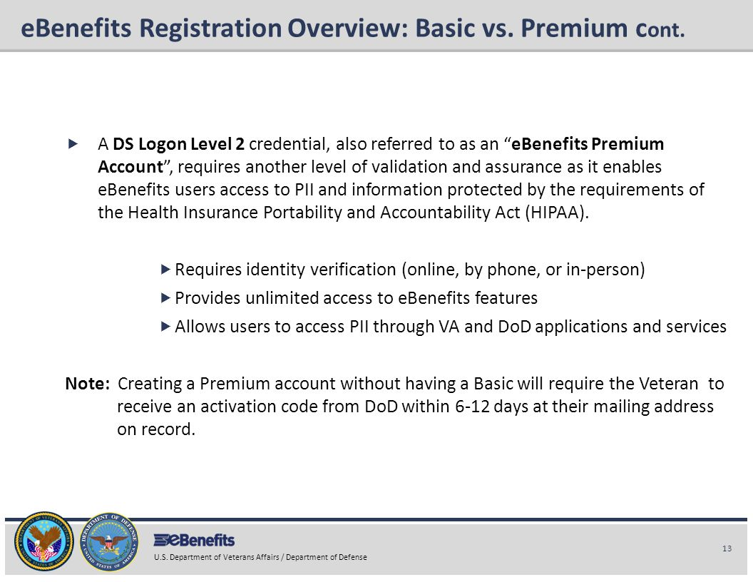 eBenefits Registration Overview: Basic vs. Premium cont.