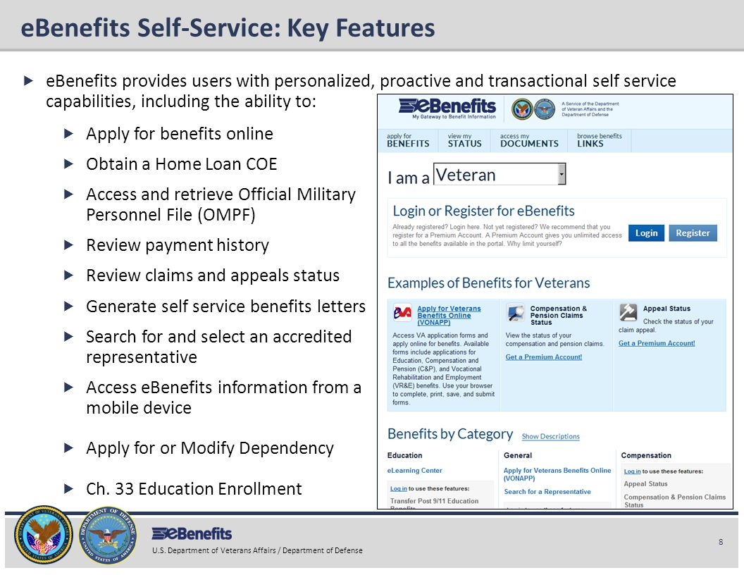 eBenefits Self-Service: Key Features
