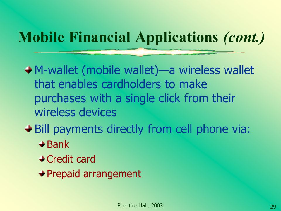 Mobile Financial Applications (cont.)
