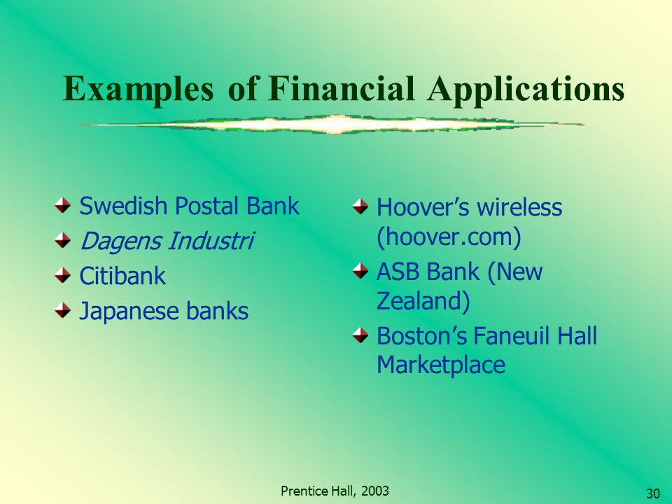Examples of Financial Applications