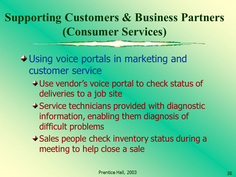 Supporting Customers & Business Partners (Consumer Services)