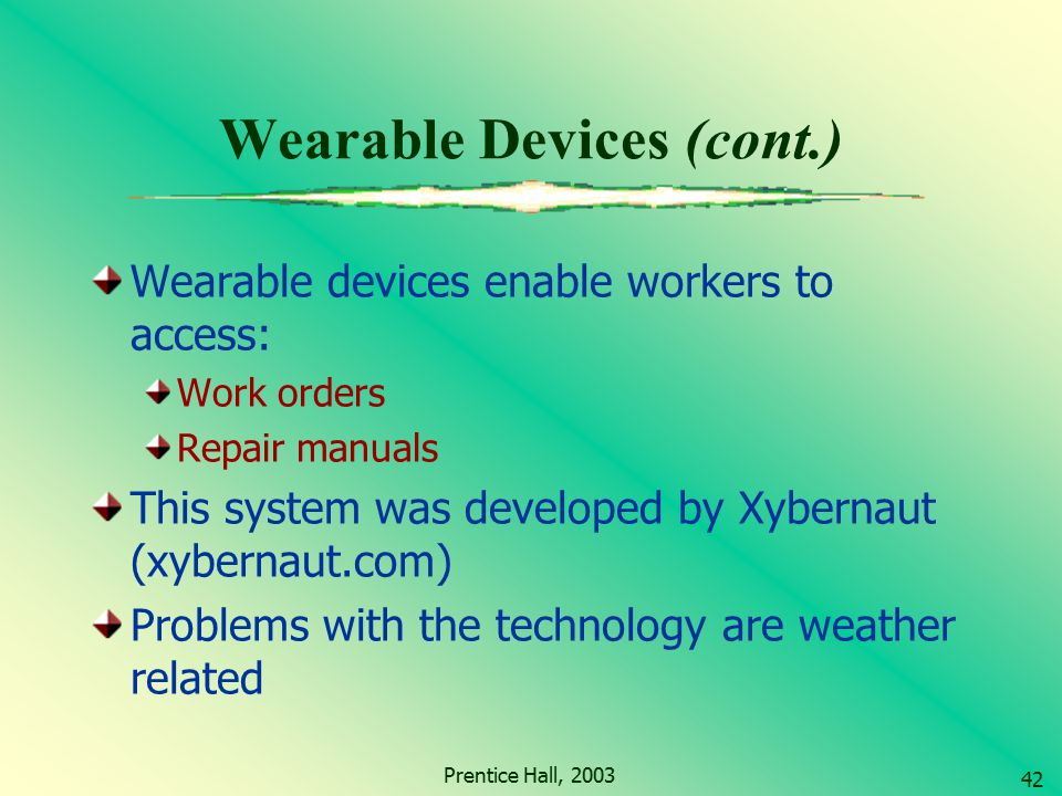 Wearable Devices (cont.)