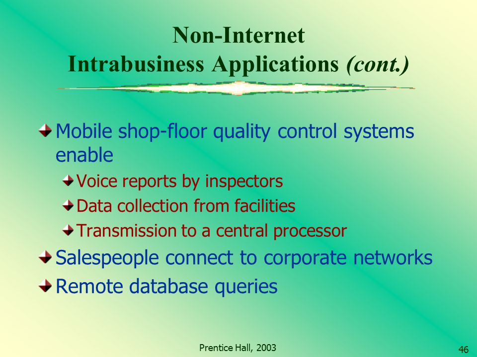 Non-Internet Intrabusiness Applications (cont.)