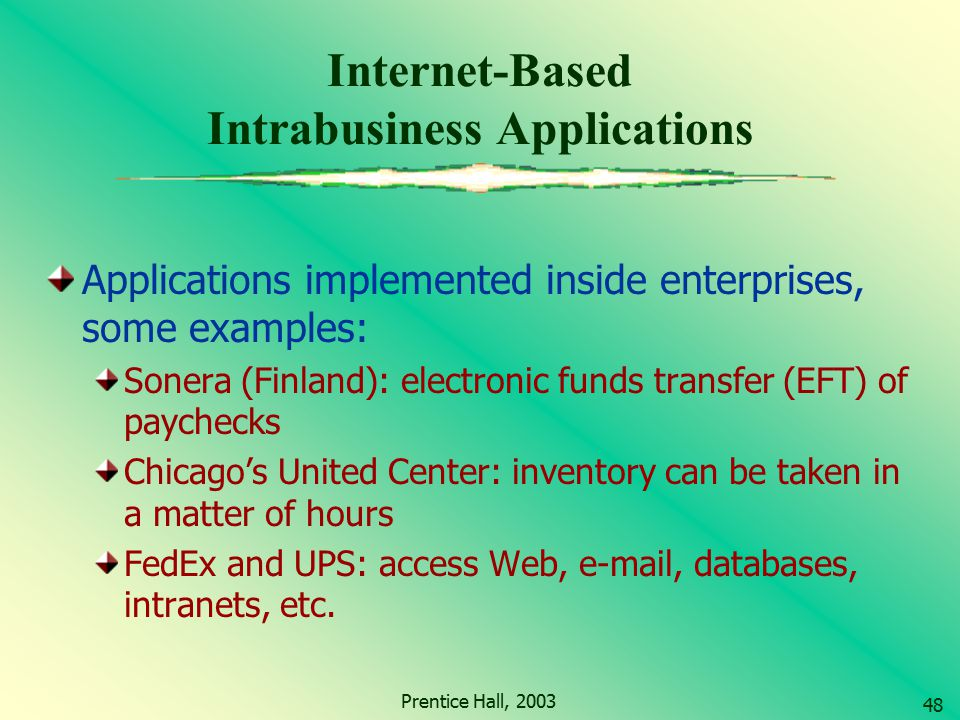 Internet-Based Intrabusiness Applications